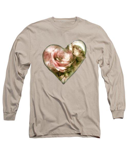 Heart Of A Rose - Antique Pink Long Sleeve T-Shirt
