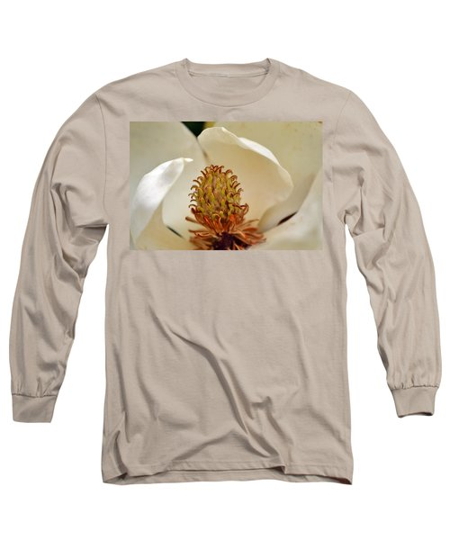 Long Sleeve T-Shirt featuring the photograph Heart Of Magnolia by Larry Bishop