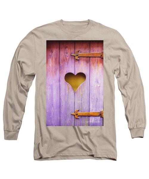 Heart On A Wooden Window Long Sleeve T-Shirt