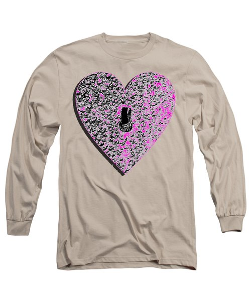Long Sleeve T-Shirt featuring the photograph Heart Shaped Lock Pink .png by Al Powell Photography USA