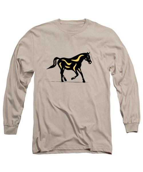 Heinrich - Pop Art Horse - Black, Primrose Yellow, Hazelnut Long Sleeve T-Shirt