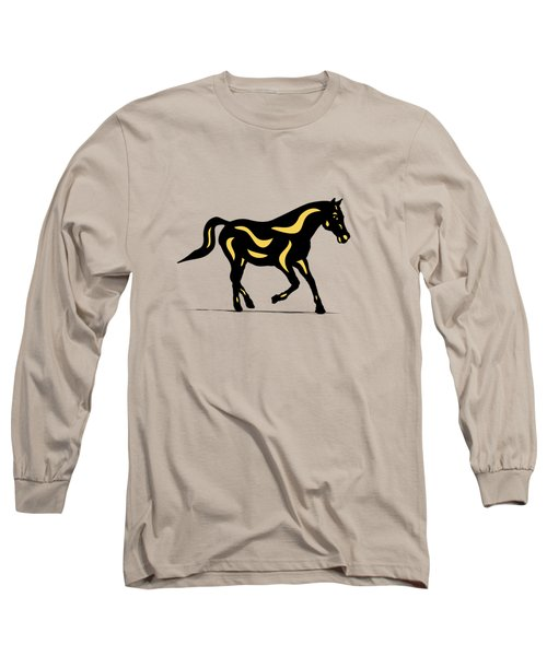 Heinrich - Pop Art Horse - Black, Primrose Yellow, Hazelnut Long Sleeve T-Shirt