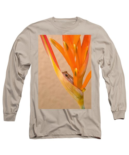 Heliconia And Frog Long Sleeve T-Shirt