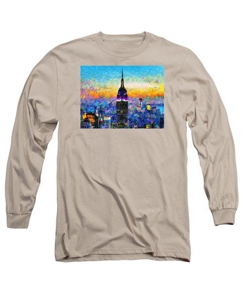 Hello New York Long Sleeve T-Shirt by Sir Josef - Social Critic -  Maha Art