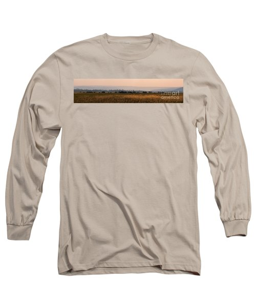 Herd Of Bison Grazing Panorama Long Sleeve T-Shirt