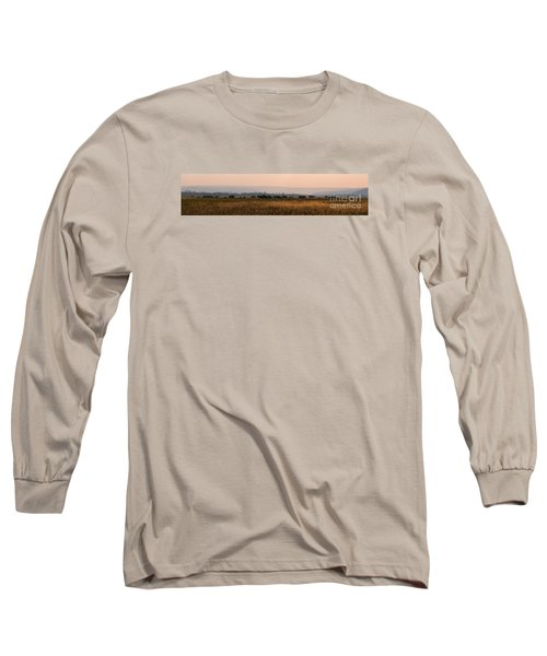 Herd Of Bison Grazing Panorama Long Sleeve T-Shirt