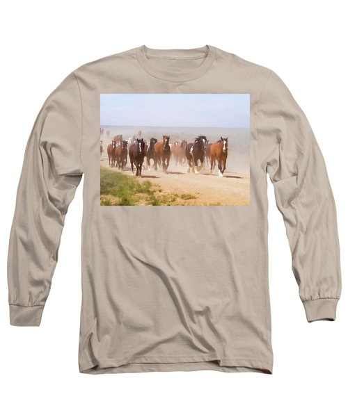 Herd Of Horses During The Great American Horse Drive On A Dusty Road Long Sleeve T-Shirt