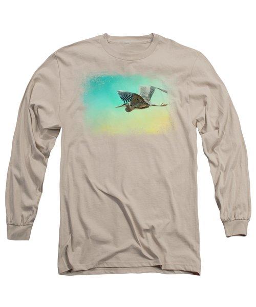 Heron At Sea Long Sleeve T-Shirt by Jai Johnson
