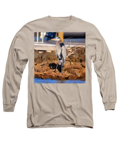 Heron On The Rocks Long Sleeve T-Shirt
