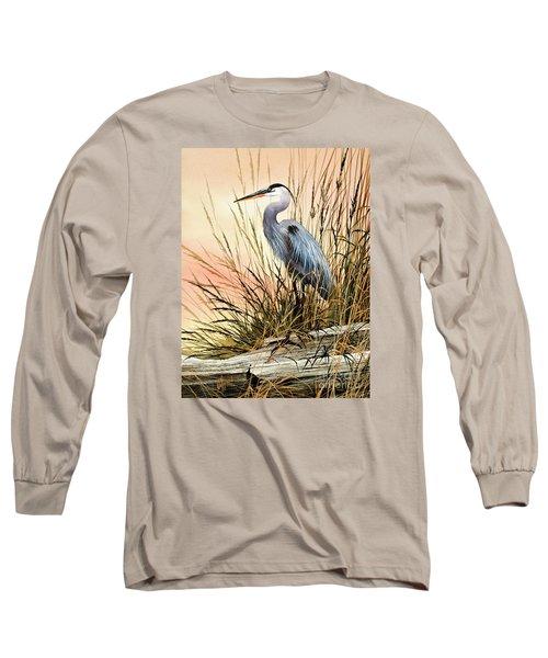 Heron Sunset Long Sleeve T-Shirt by James Williamson