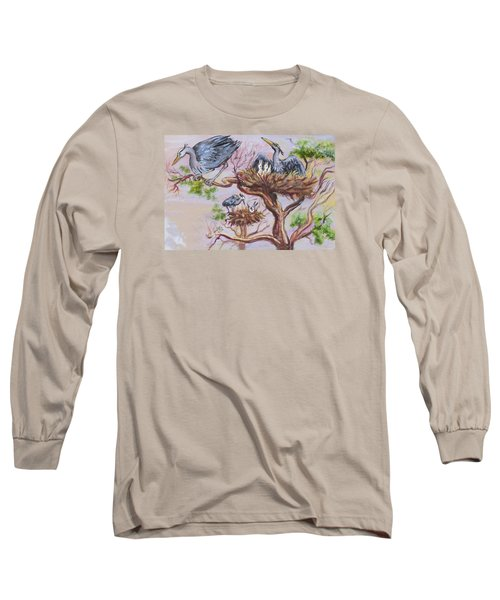 Long Sleeve T-Shirt featuring the painting Herons At Nests by Dawn Senior-Trask