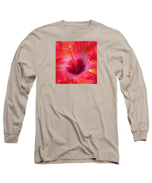 Hibiscus - Coral And Pink Square Long Sleeve T-Shirt