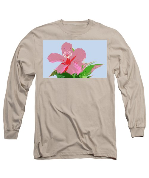 Long Sleeve T-Shirt featuring the digital art Hibiscus Flower Art - 2 by Karen Nicholson