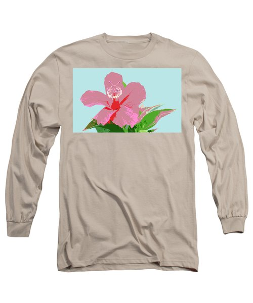 Long Sleeve T-Shirt featuring the digital art Hibiscus Flower Art - 3 by Karen Nicholson