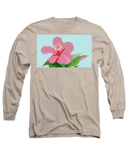 Hibiscus Flower Art - 3 Long Sleeve T-Shirt by Karen Nicholson
