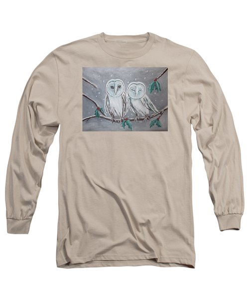 Hiboux En Hiver Long Sleeve T-Shirt by Victoria Lakes