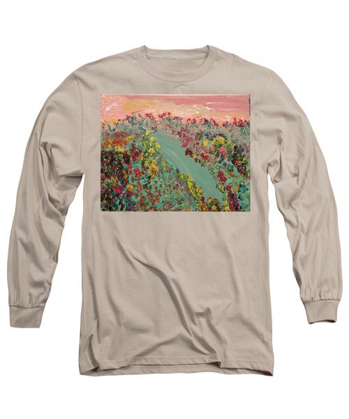 Hillside Flowers Long Sleeve T-Shirt by Karen Nicholson