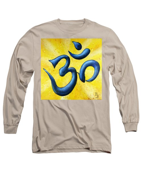 Long Sleeve T-Shirt featuring the painting Hindu Om Symbol Art by Bob Baker
