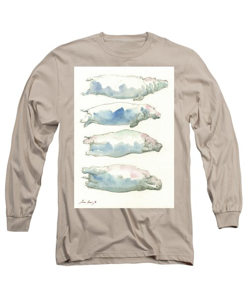 Hippo Swimming Study Long Sleeve T-Shirt