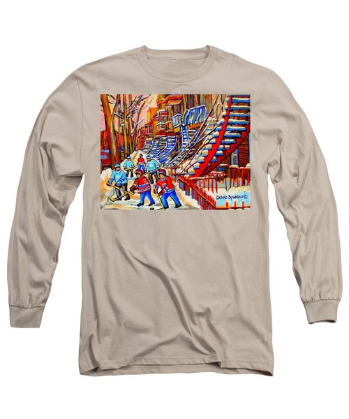 Hockey Game Near The Red Staircase Long Sleeve T-Shirt