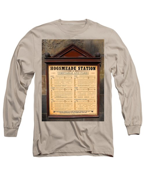 Long Sleeve T-Shirt featuring the photograph Hogsmeade Station Timetable by Juergen Weiss