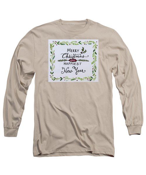 Holly Berry Merry Christmas Long Sleeve T-Shirt by Elizabeth Robinette Tyndall