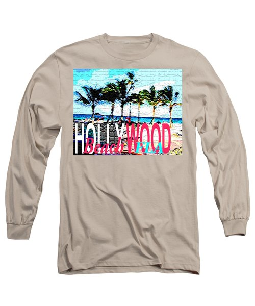 Hollywood Beach Fla Poster Long Sleeve T-Shirt by Dick Sauer