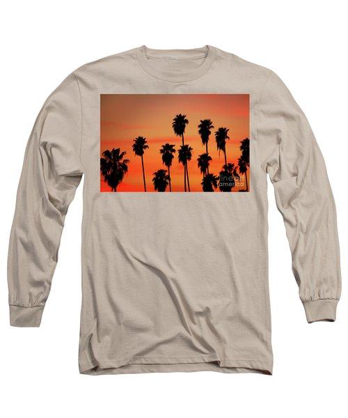 Hollywood Sunset Long Sleeve T-Shirt by Mariola Bitner