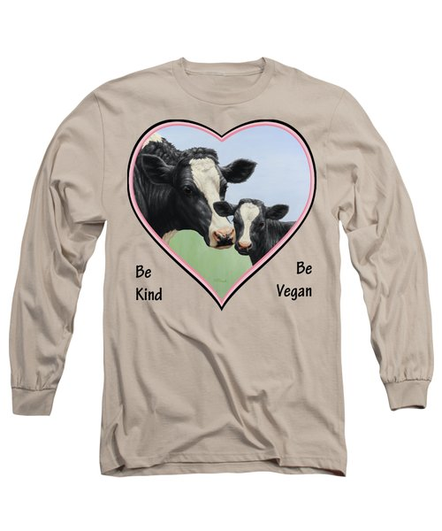 Holstein Cow And Calf Pink Heart Vegan Long Sleeve T-Shirt by Crista Forest