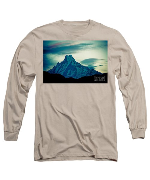 Holy Mount Fish Tail Machhapuchare 6998m Long Sleeve T-Shirt
