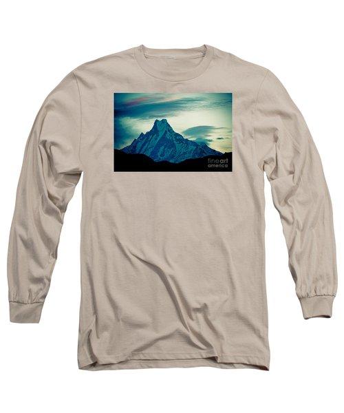 Holy Mount Fish Tail Machhapuchare 6998m Long Sleeve T-Shirt