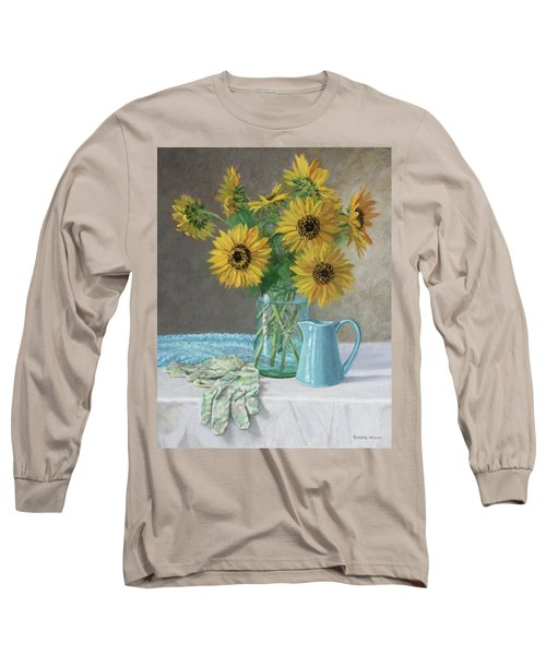 Homegrown - Sunflowers In A Mason Jar With Gardening Gloves And Blue Cream Pitcher Long Sleeve T-Shirt