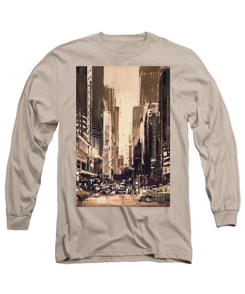 Hong-kong Cityscape Painting Long Sleeve T-Shirt