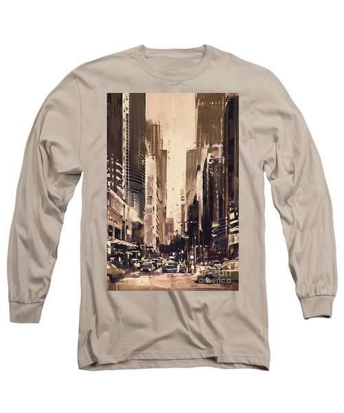 Hong-kong Cityscape Painting Long Sleeve T-Shirt
