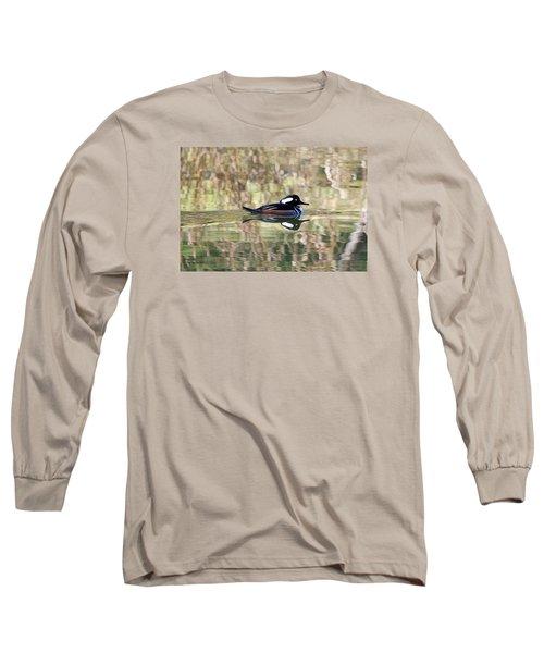 Long Sleeve T-Shirt featuring the photograph Hooded Merganser by Elizabeth Budd