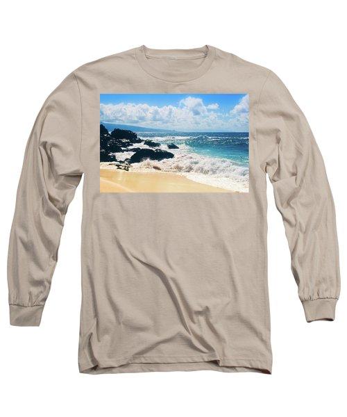 Hookipa Beach Maui Hawaii Long Sleeve T-Shirt by Sharon Mau