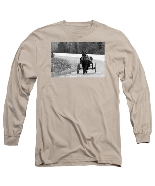 Horse And Buggy Long Sleeve T-Shirt by Marjorie Imbeau