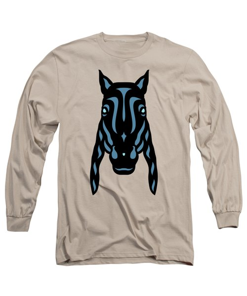 Horse Face Rick - Horse Pop Art - Hazelnut, Niagara Blue, Island Paradise Blue Long Sleeve T-Shirt