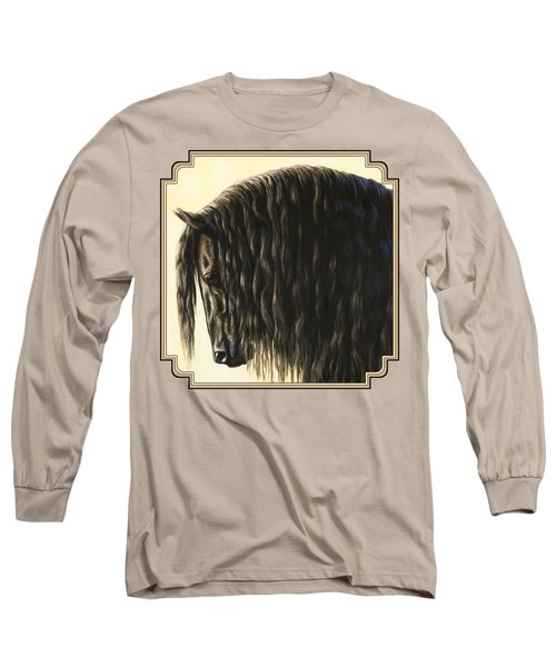 Horse Painting - Friesland Nobility Long Sleeve T-Shirt by Crista Forest