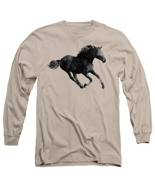 Horse Running In Black And White Long Sleeve T-Shirt