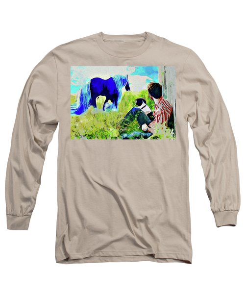 Long Sleeve T-Shirt featuring the painting Horse Whisperer by Ted Azriel