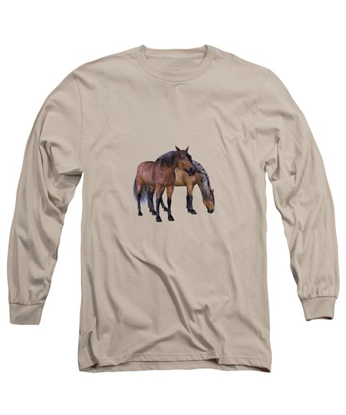 Horses In A Misty Dawn Long Sleeve T-Shirt