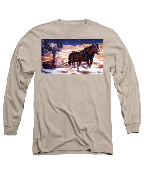 Horses Pulling Log Long Sleeve T-Shirt