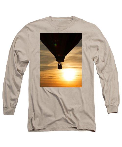 Hot Air Balloon Sunset Silhouette Long Sleeve T-Shirt by Brian Caldwell