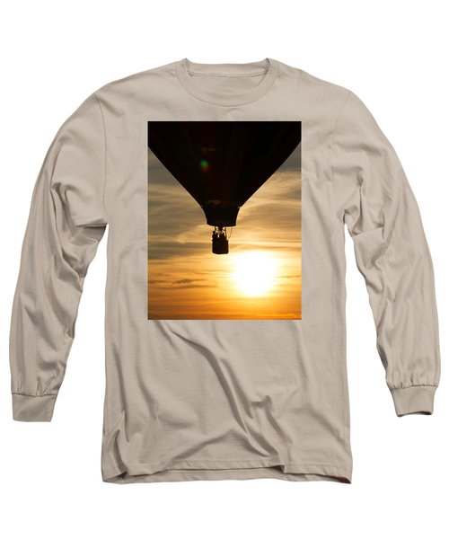 Hot Air Balloon Sunset Silhouette Long Sleeve T-Shirt