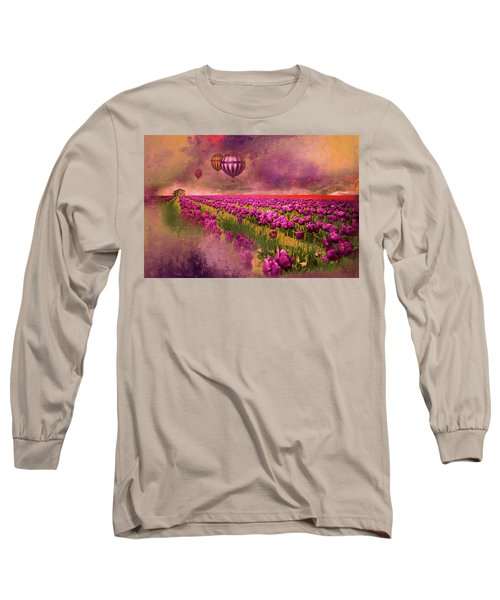 Hot Air Balloons Over Tulip Fields Long Sleeve T-Shirt by Jeff Burgess