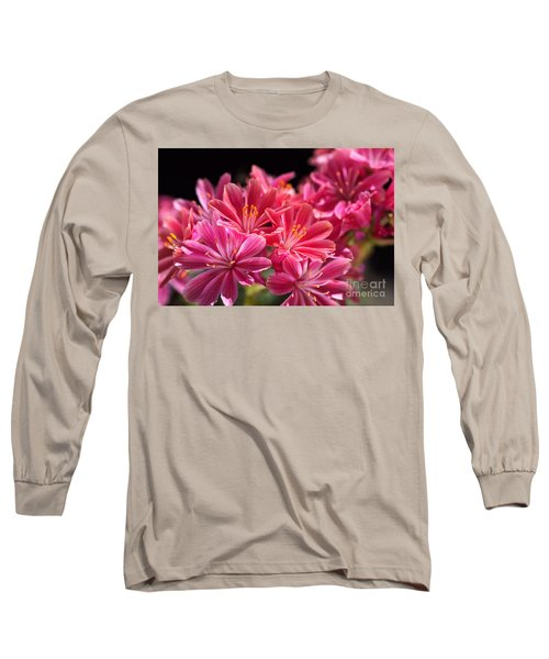 Hot Glowing Pink Delight Of Flowers Long Sleeve T-Shirt
