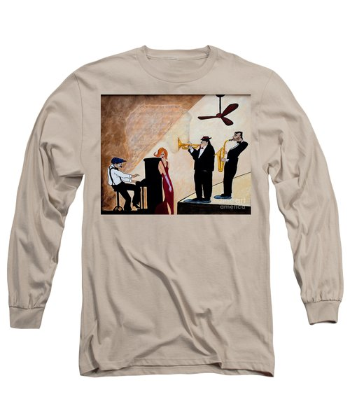Long Sleeve T-Shirt featuring the painting House Of The Rising Sun by Barbara McMahon