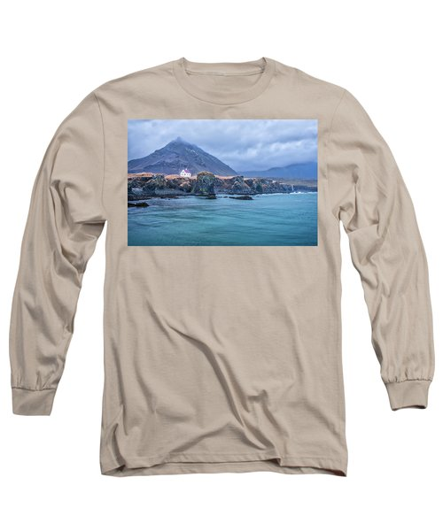 House On Ocean Cliff In Iceland Long Sleeve T-Shirt
