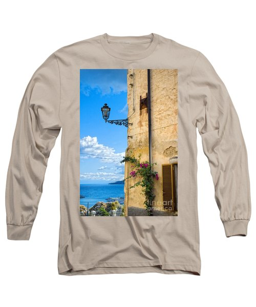 House With Bougainvillea Street Lamp And Distant Sea Long Sleeve T-Shirt